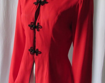Red Asian Inspired Blouse size S and Made in the USA Black Frog buttons