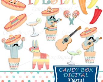 Mexican Fiesta Clipart, Pinata and Chili Pepper Clip Art - Commercial Use OK