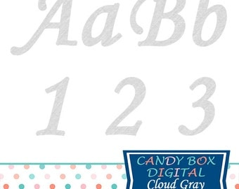 Gray Cursive Alphabet Clipart, Gray Script Font Clip Art - Commercial Use OK