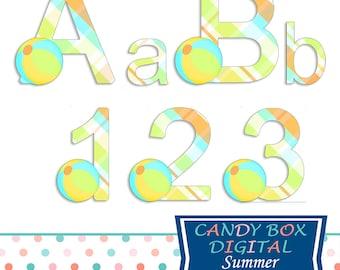 Summer Beach Vacation Alphabet Clipart, Beachball Alphabet Font Clip Art - Commercial Use OK