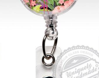 Pink Flamingo Retractable Badge Holder | Pink Flamingos | ID Badge Reel Clips | Retro Pink Flamingo Nurse Badge | ID Badge | Nurse Gifts 392