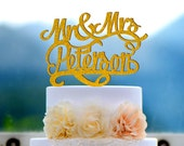 Wedding Cake Topper Monogram Mr and Mrs cake Topper Design Personalized with YOUR Last Name 045