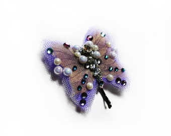 Violet Tulle Butterfly Hair Clip, Wedding Hair Accessories, Butterfly Bobby Pin Hair Jewelry