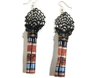 Aztec Cinnamon Earrings, Lace Jewelry, Wood Earrings, Statement Jewelry