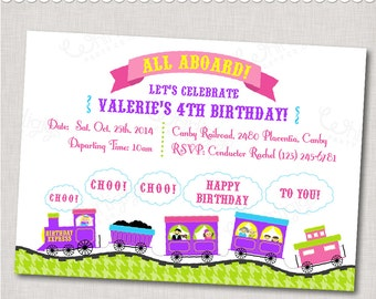 "Purple Pink Train Party Invitation - ""Birthday Express"" - - Digital File or Printed Invitations with Envelopes - FREE SHIPPING"