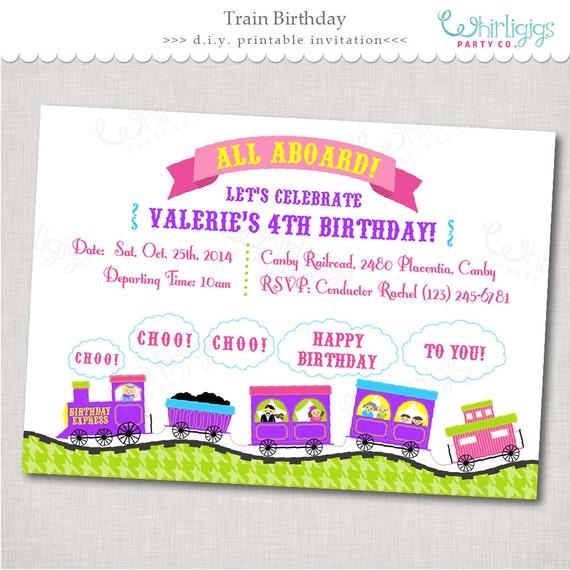 purple pink train party invitation birthday express digital