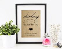 Thinking Out Loud Lyrics Burlap Print | Ed Sheeran Lyrics | Personalized Wedding Gift for Couple | Wedding Song Lyrics Valentines Day Gift