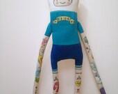 Adventure Time- Finn the human- OOAK-Handmade Art Doll- Hipster Tattoos
