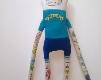 Adventure Time- Finn the human- OOAK-Handmade Art Doll- Hipster Tattoos- made to order-  soft sculpture plush doll gift