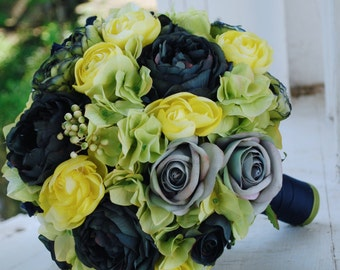 Silk bridal bouquet, yellow, navy blue roses, navy peonies, turquoise roses, green and yellow ranunculus, matching boutonieer