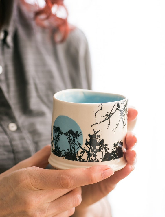 Ceramic light blue and white cup Illustrated Coffee Mug