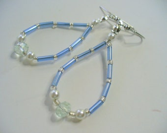 Beaded Dangle Earrings, Pearl, Blue and Clear Beaded Dangle Earrings, Silver Earring, Long Dangle Earring, Womens Jewelry, Silver Earrings
