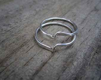 Set of Stacking Sterling Silver Wave Rings - Solid Sterling - Minimalist - Stacking Ring