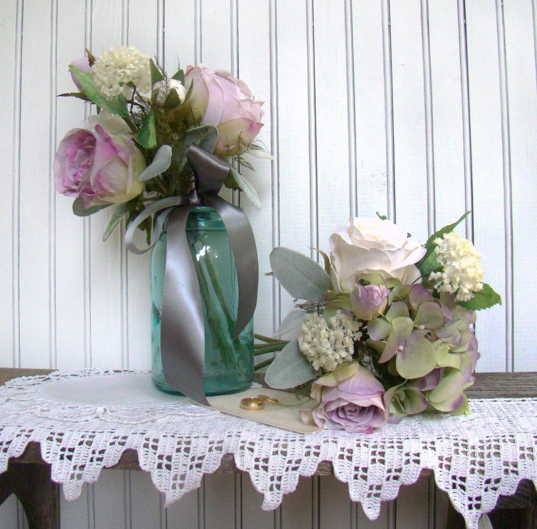 Silk Wedding Flowers In Maryland : Lavender bridesmaids bouquet silk wedding flowers by