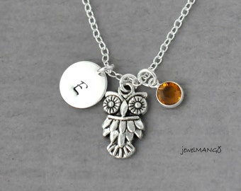 Owl Initial Necklace, Silver owl charm, Personalized Initial Necklace, birthstone necklace, monogram, custom gifts, birthday gift for her