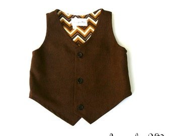 The Jacob Boys Brown Vest, Infant to Teen, Wedding Ring Bearer, Toddler Vest, Boys Vest, Toddler Boys Brown Vest, Boys Brown Waistcoat