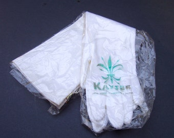 VINTAGE Long White Nylon Gloves Kaytex by Kayser . sz 6-1/2 . in original package with tags
