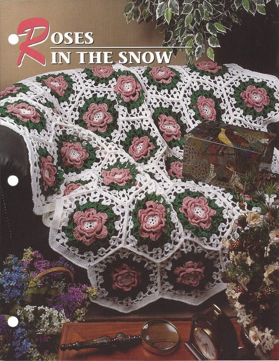 Roses In The Snow Annies Crochet Quilt & Afghan
