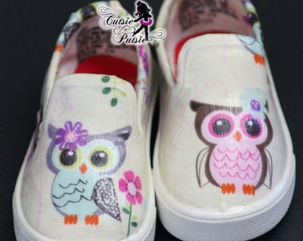 Owl Shoes - Owl Birthday Girl Outfit - Owl Birthday Party - Custom Kids Shoes - Baby & Children's Shoes - Custom Canvas Shoes - Unique Shoes