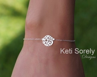 Sterling Silver Monogram Bracelet or Anklet with Script Initials (Personalize It For You) - Small to Large Monograms