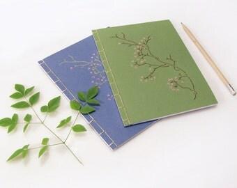 Sakura. Embroidered Notebook. Blooming Branch. Japanese Journal. A5 Journal. Garden Journal. Cherry Flower Notebook. Stab Bound. Green Blue