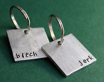 Jerk Bitch Keychain Set, Best Friend Keychains or Couples Key Rings,  His and Hers, Gift Keyfob
