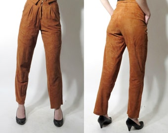Vintage Brown Suede Leather High Waiated Pants Zeiler Size 36
