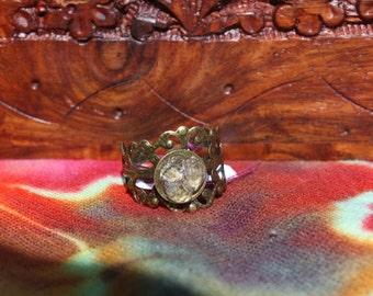 Adjustable 3 Stone Herkimer Diamond Ring