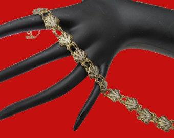 shell link bracelet  damascene gold black white
