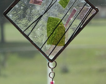 Pink and Green Beaded suncatcher