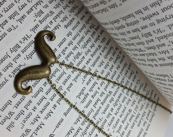 Vintage Brass Look Handlebar Mustache Charm Necklace