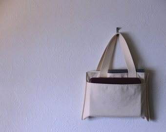 Small Canvas Purse - Half size Tote Bag - Tiny Handbag Clutch - Perfect College Bookbag - Tablet sized pockets on both sides