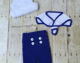 Crochet Photo Prop, Sailor Costume, Navy Costume, Navy Halloween, Navy Baby, Baby Shower Gift, Navy Gift, Baby Gift, Navy Baby Shower