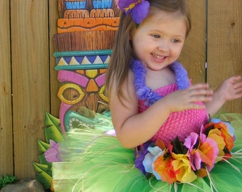 ONE DAY SALE - Only 2 available at this price - Birthday - Luau tutu - nb-adult  - bright colored tutu with pink top and matching headband