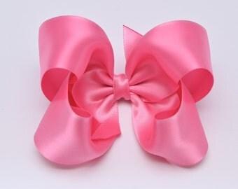 Hot Pink Hair Bow, Satin Hair Bows, Toddler Hair Bows, 4 Inch Hair Bows, Baby Hair Bows, Girls Hair Bows, 904