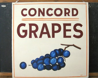 Antique Painted Sign, Concord Grapes Sign, Vintage Produce Sign, Farm Stand, AAFA, Hand Painted Sign, Weiler Fruit Farm, Dayton, OH