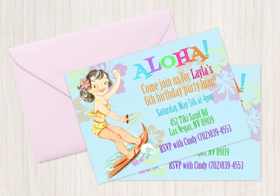 Vintage Aloha Luau Customizable Birthday Invitations, Customize, Girl Birthday Invitations, Luau Birthday, Printable Invitations, Hula Girl