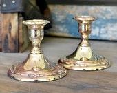 Silverplate Oneida Candlesticks (Set of 2) – Elegant Shabby Natural Tarnish & Patina, Scrolling Flourish Pattern – Vintage Home Decor