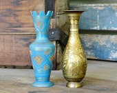 Brass Vase Pair - Blue & Gold Etched, Hand Decorated, Made in India - Kiwi Birds and Traditional Art - Vintage Home Decor