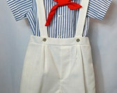 Vintage White Shortalls and Blue Striped Sailor Shirt with Red Tie- New, never worn
