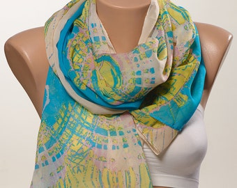 SALMON and Yellow and Turquoise New Season Chiffon Scarf. Fashion Scarf for her. Neck Wrap. Women Scarf wrap.
