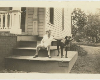 A Boy & His Dog on Front Steps, c1930s Vintage Photo Snapshot (55361)