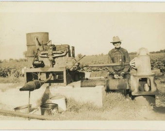 Farmer w/ Agricultural Machinery, c1930s Vintage Photo Snapshot [56376]