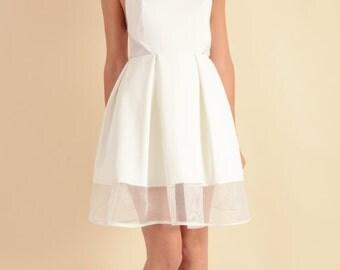 White Halter Tie Up Summer Dress