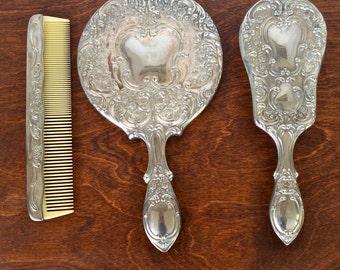 Vintage Silver Plated Vanity 3 Piece Set