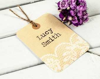 Rustic lace luggage tag place card