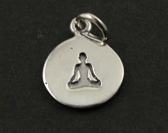 Sterling Silver Meditation Charm in a Disc /Yoga Pendant / Charm, Sold as 1 Piece , (SS/CH2/CR62)