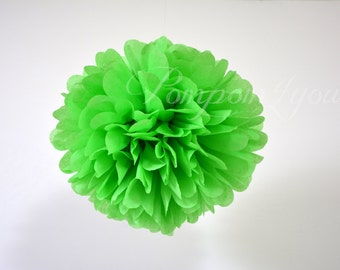 One Apple Green Tissue paper Pom Poms // Wedding Decorations // Party Decorations // Pom Poms
