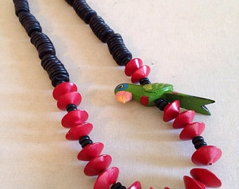 Vintage Colorful Wood Tropical Parrot Necklace