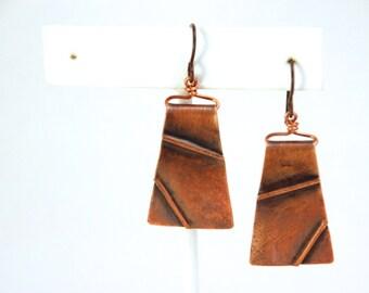 "Textured Copper ""Tectonics"" New Madrid Earrings"
